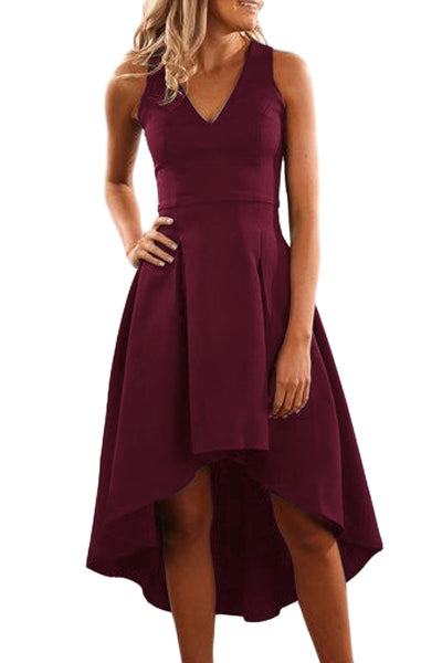 Burgundy High Low Hem Sleeveless Midi Dress - GHA Discount