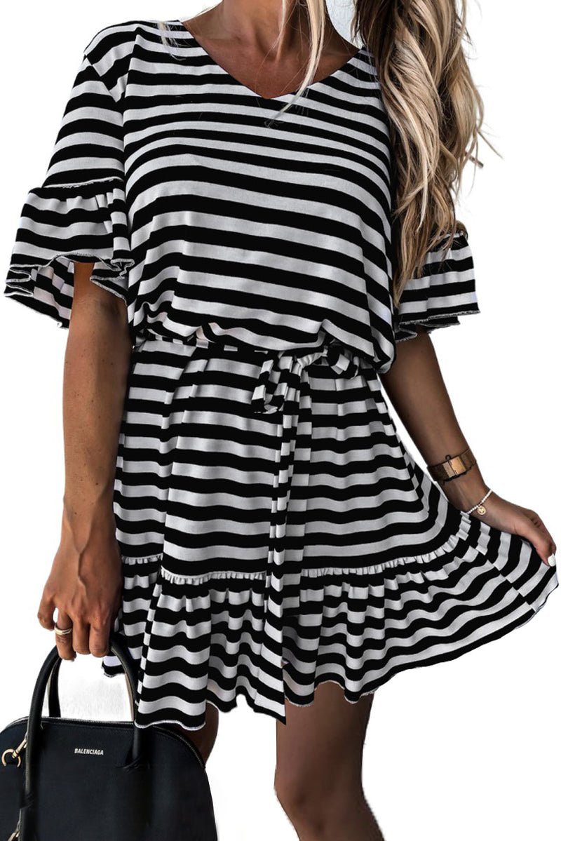 Black Stripes Ruffle Short Dress - GHA Discount