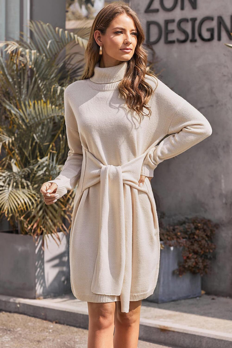 Apricot Long Sleeve Tie Waist Turtleneck Pullover Sweater Dress - GHA Discount