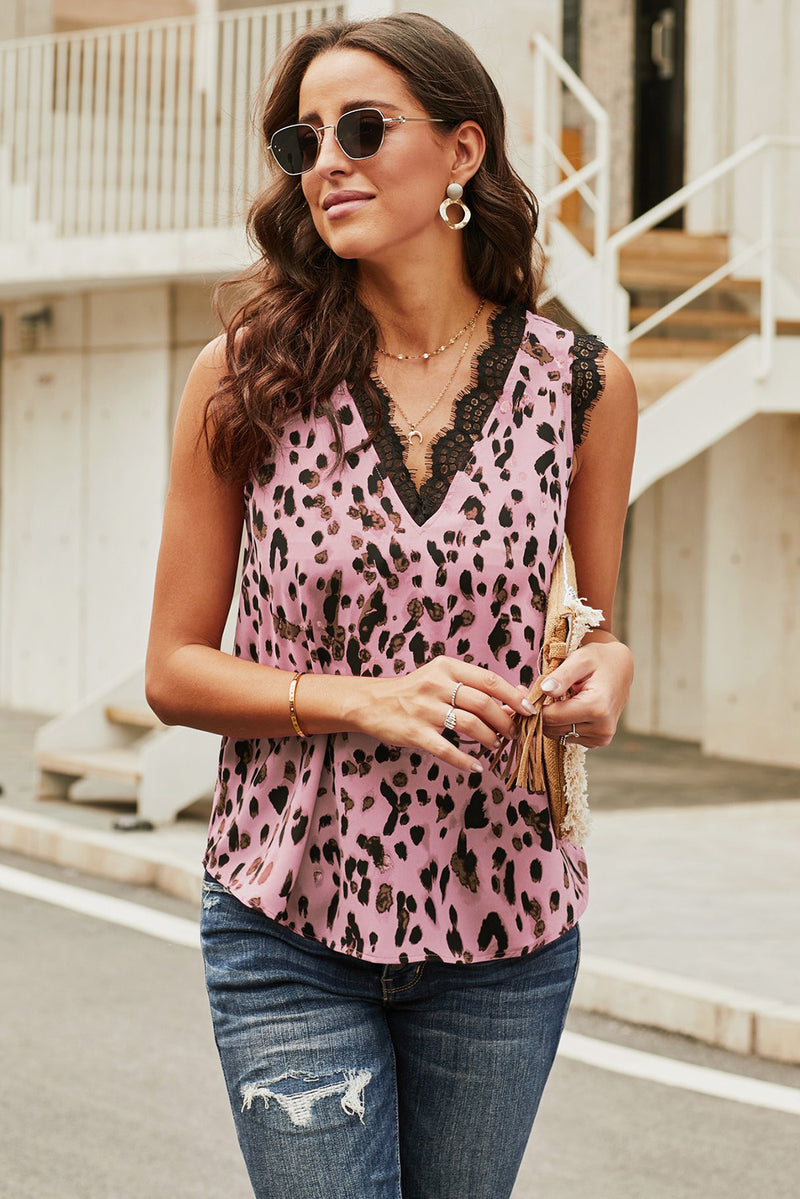 Pink V Neck Lace Trim Leopard Tank - GHA Discount