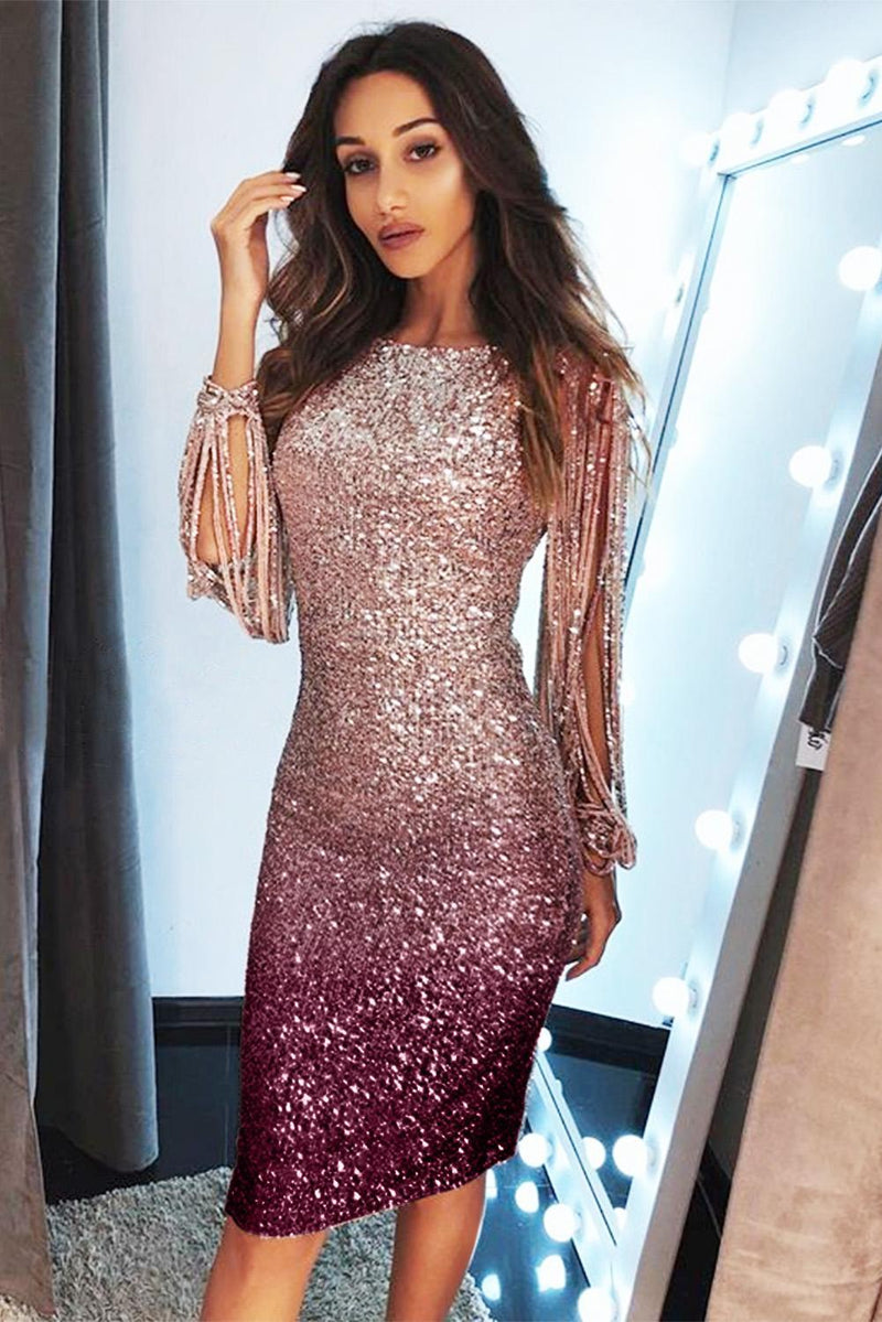 Apricot Ombre Sequin Tassel Sleeve Bodycon Evening Dress - GHA Discount