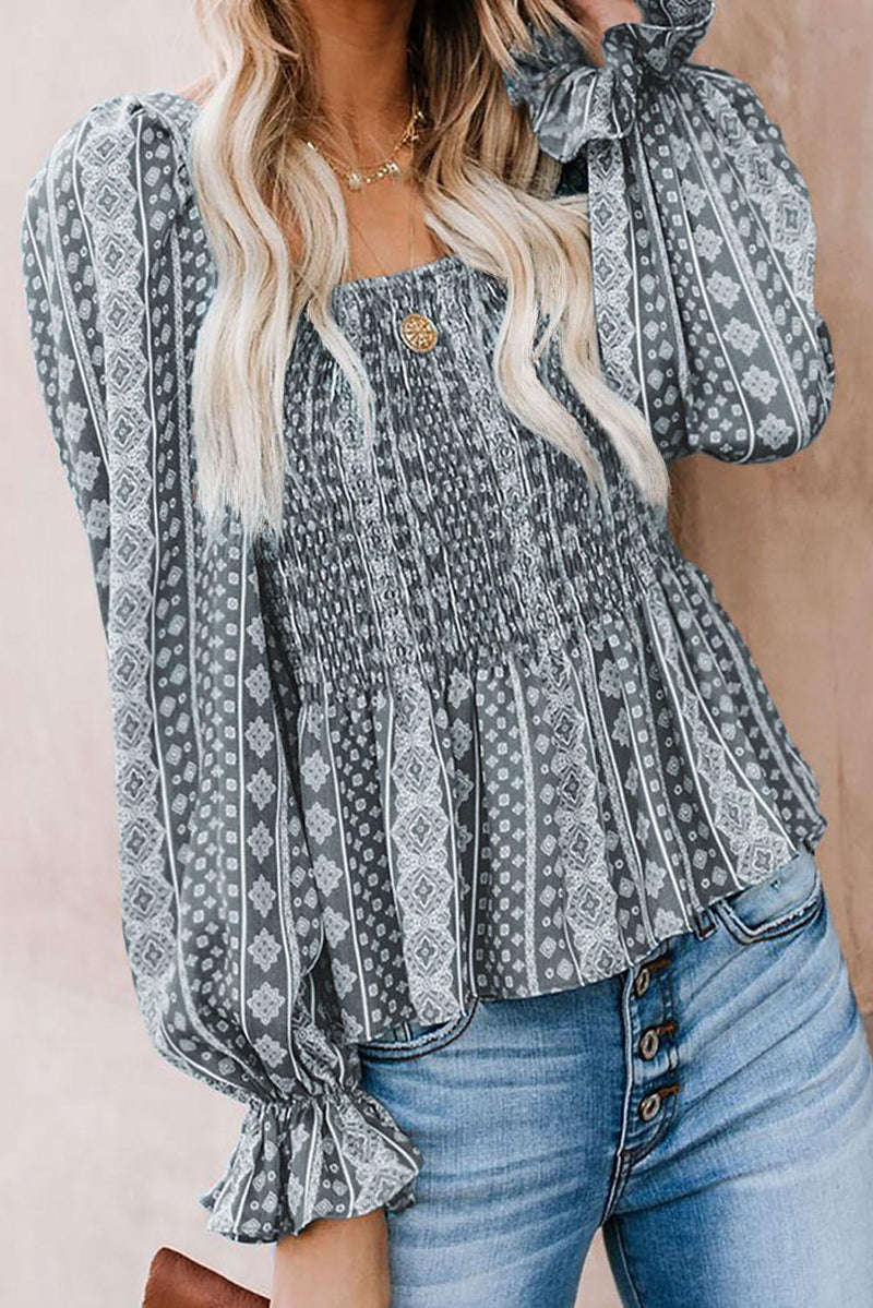 Gray Bohemian Print Shirred Bodice Tunic Top - GHA Discount