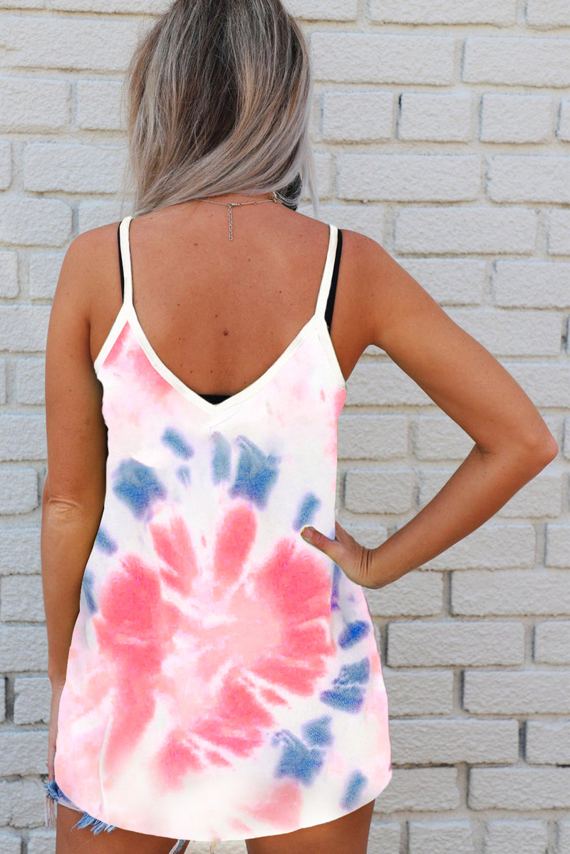Pink Tie Dye Strappy Crossed Neckline Tank Top - GHA Discount