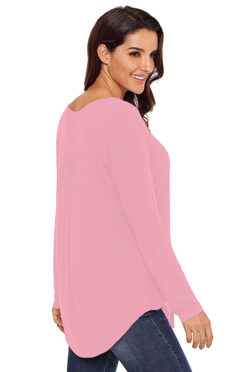 Pink Long Sleeve Button up Pleated Tunic - GHA Discount