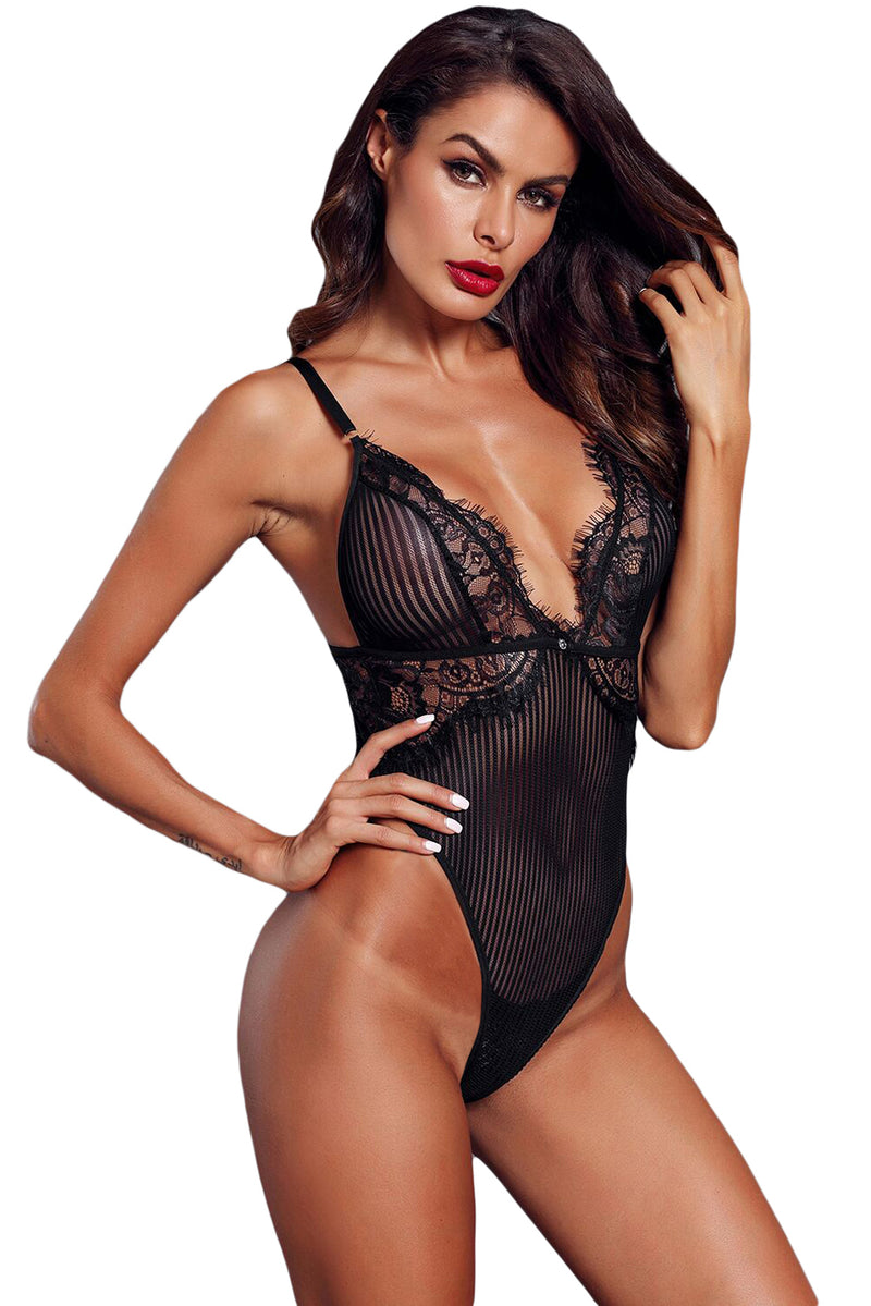 Black Triangle Lace Bodysuit - GHA Discount