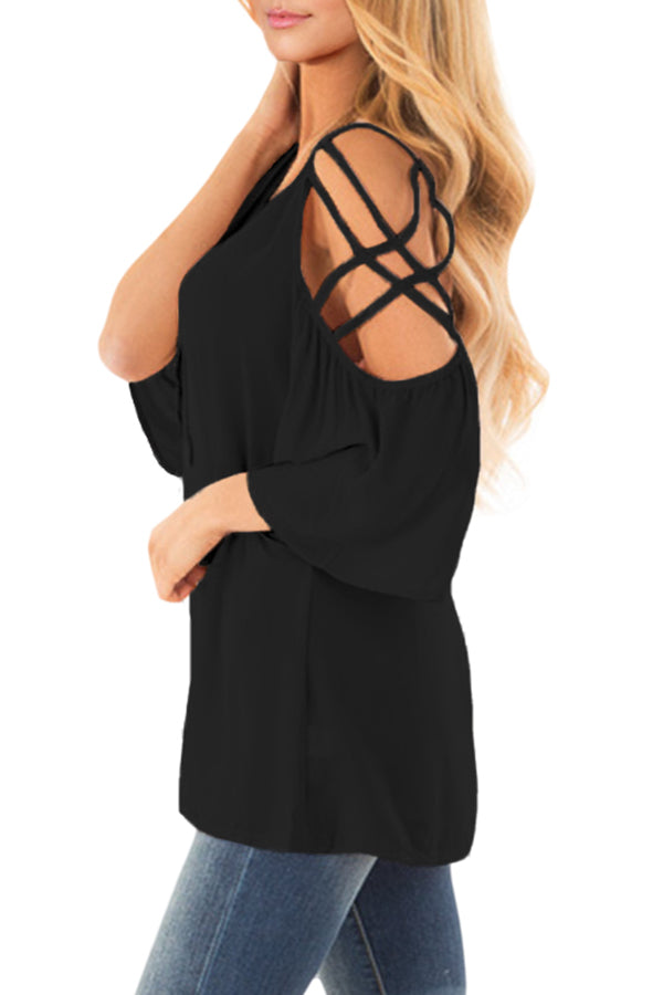 Cold Shoulder Blouse with Strap Details - GHA Discount