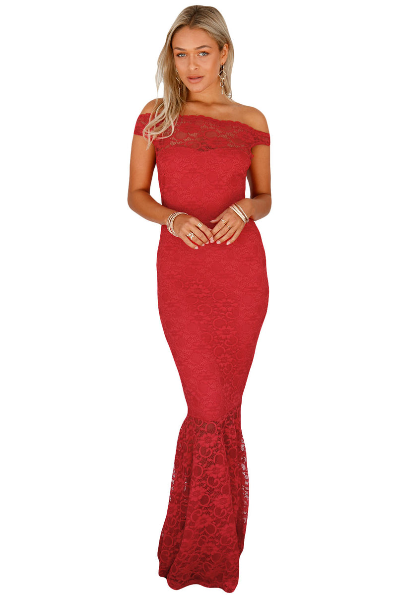 Red Bardot Lace Fishtail Maxi Dress - GHA Discount