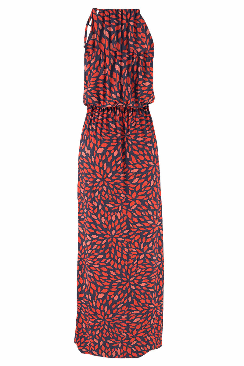 Red Floral Pattern Maxi Dress - GHA Discount