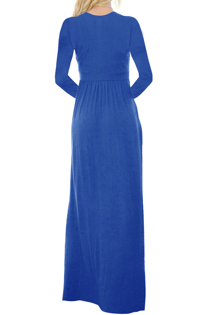 Royal Blue Long Sleeve Button Down Casual Maxi Dress - GHA Discount