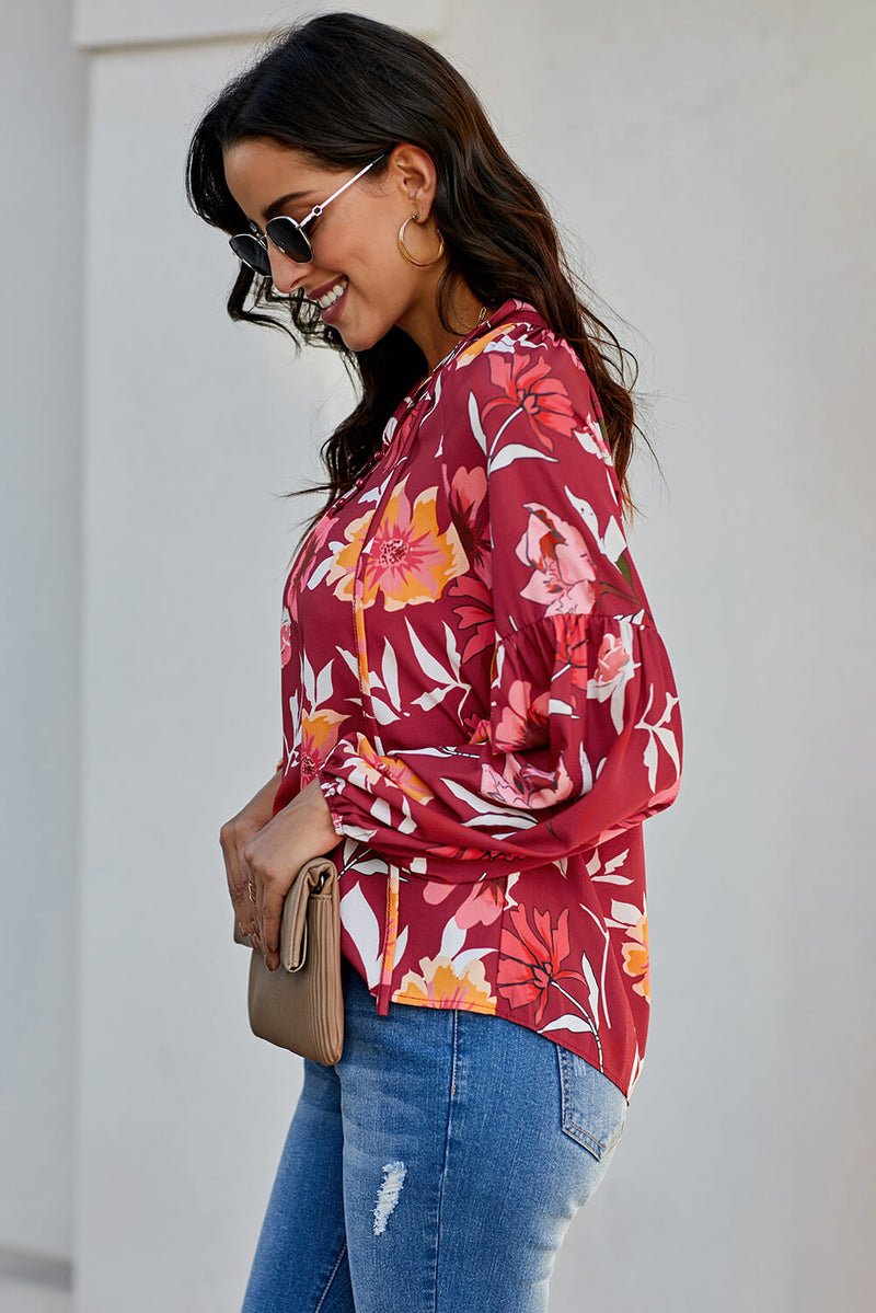 Floral Lantern Sleeve Blouse - GHA Discount