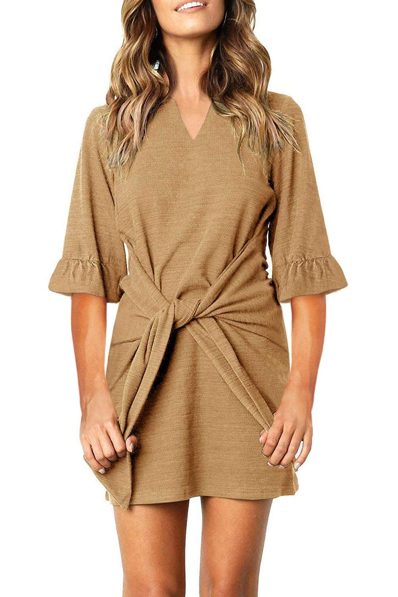 Khaki V Neck Ruffled Sleeves Waist Tie Mini Dress - GHA Discount