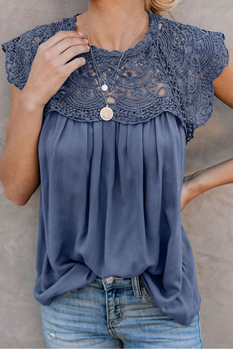 Crochet Lace Trim Splicing Casual Blouse - GHA Discount