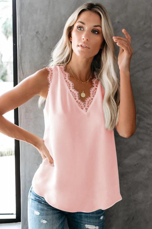 Pink Sleeveless Eyelash Lace V Neck Tank Top - GHA Discount