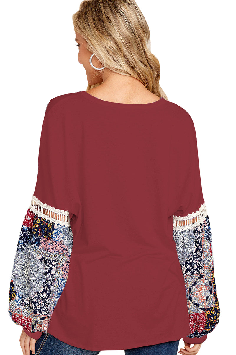 Printed Bubble Sleeve Splice Scarlet Tunic Top - GHA Discount