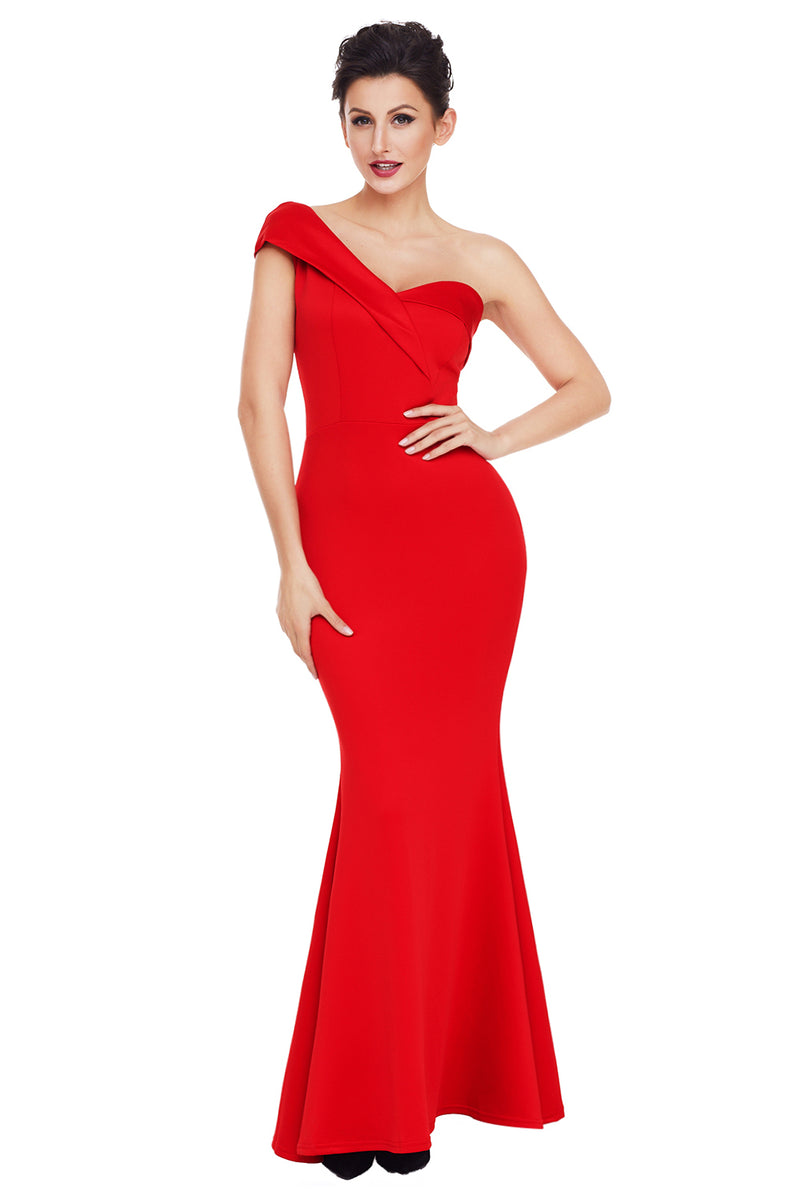 Red Sexy One Shoulder Ponti Gown - GHA Discount