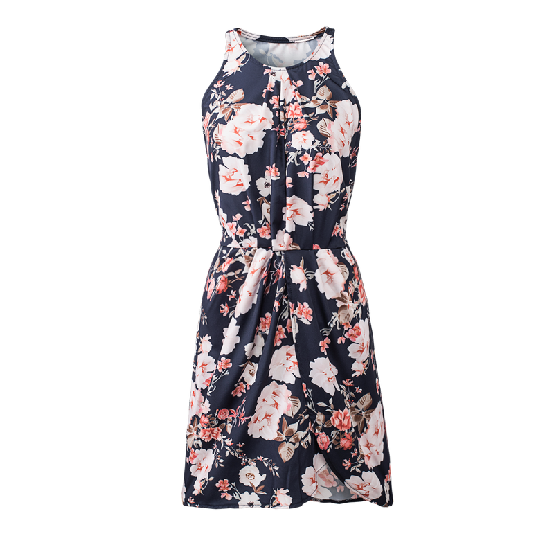 Black Halter Neck Floral Print Sleeveless Casual Mini Dress - GHA Discount