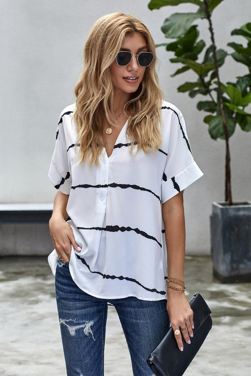 White Striped Folded Short Sleeve Shirt - GHA Discount