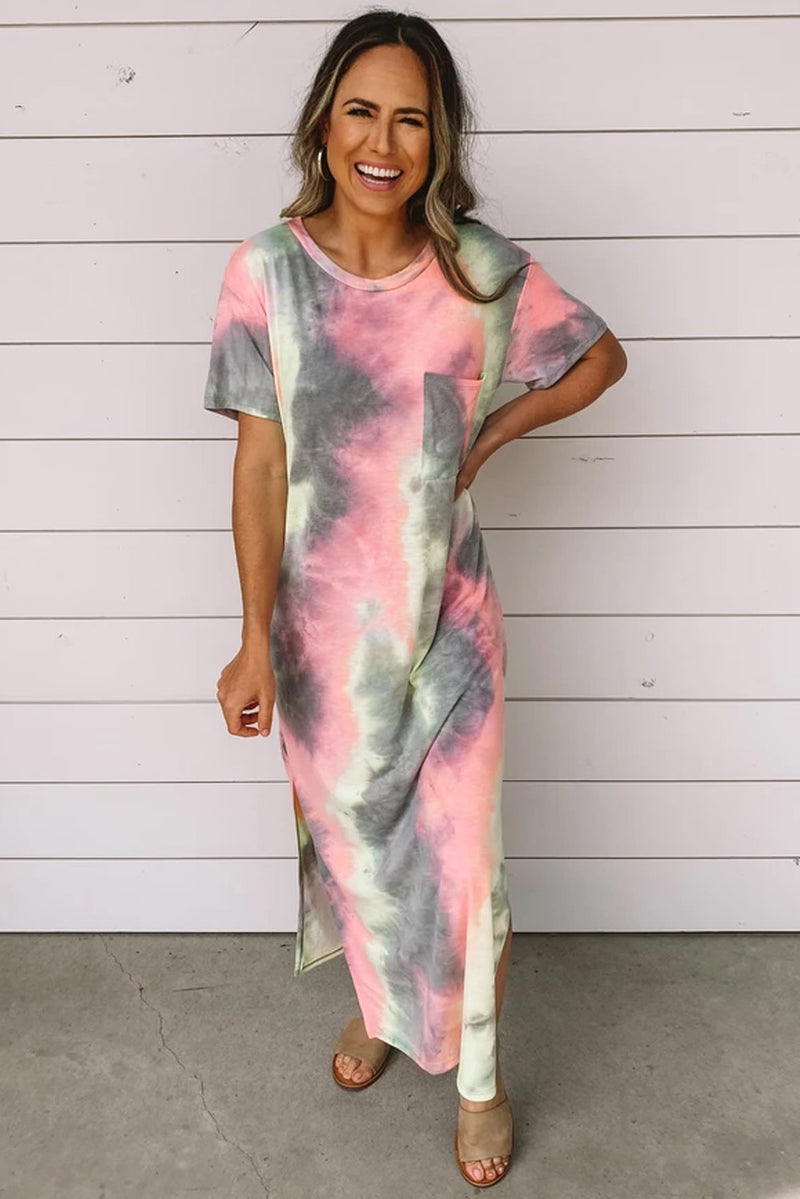 Gray Tie Dye Maxi Dress - GHA Discount