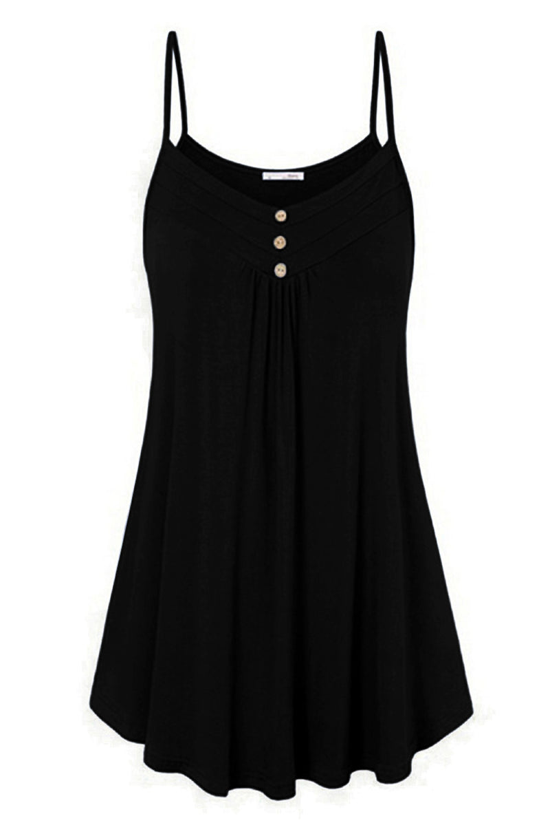 Black Spaghetti Strap Buttoned Shift Dress - GHA Discount