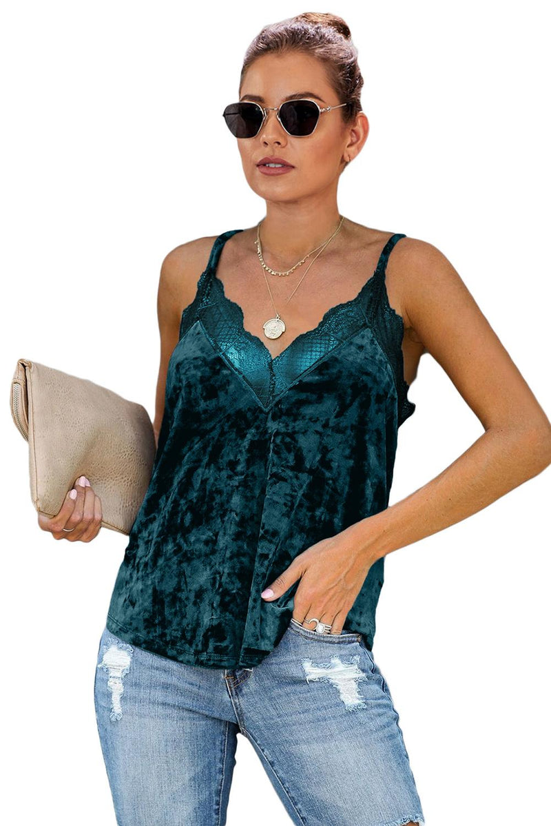 Green Velvet Lace Cami Tank - GHA Discount