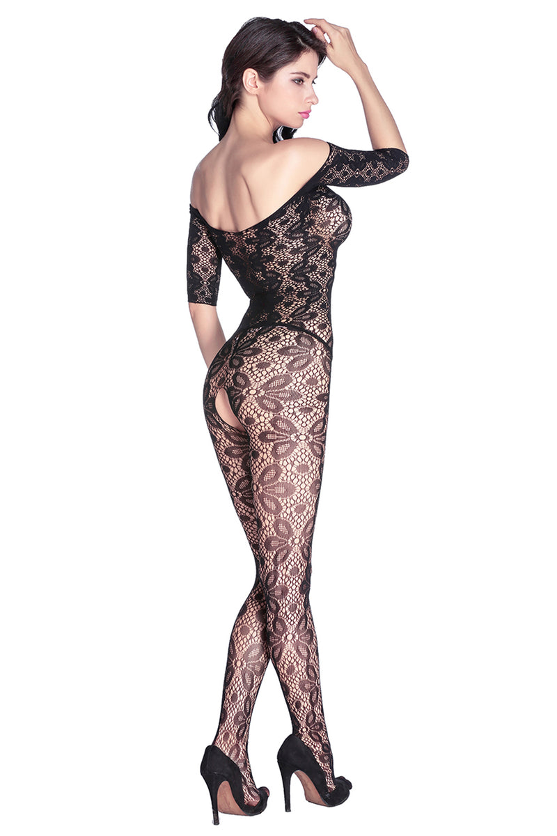 Black Lace Floral Open Tight Super Decollete Bodystockings - GHA Discount