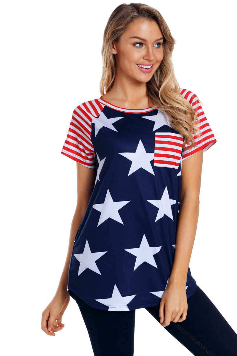 Striped Short Sleeves Red Navy American Flag T-shirt - GHA Discount