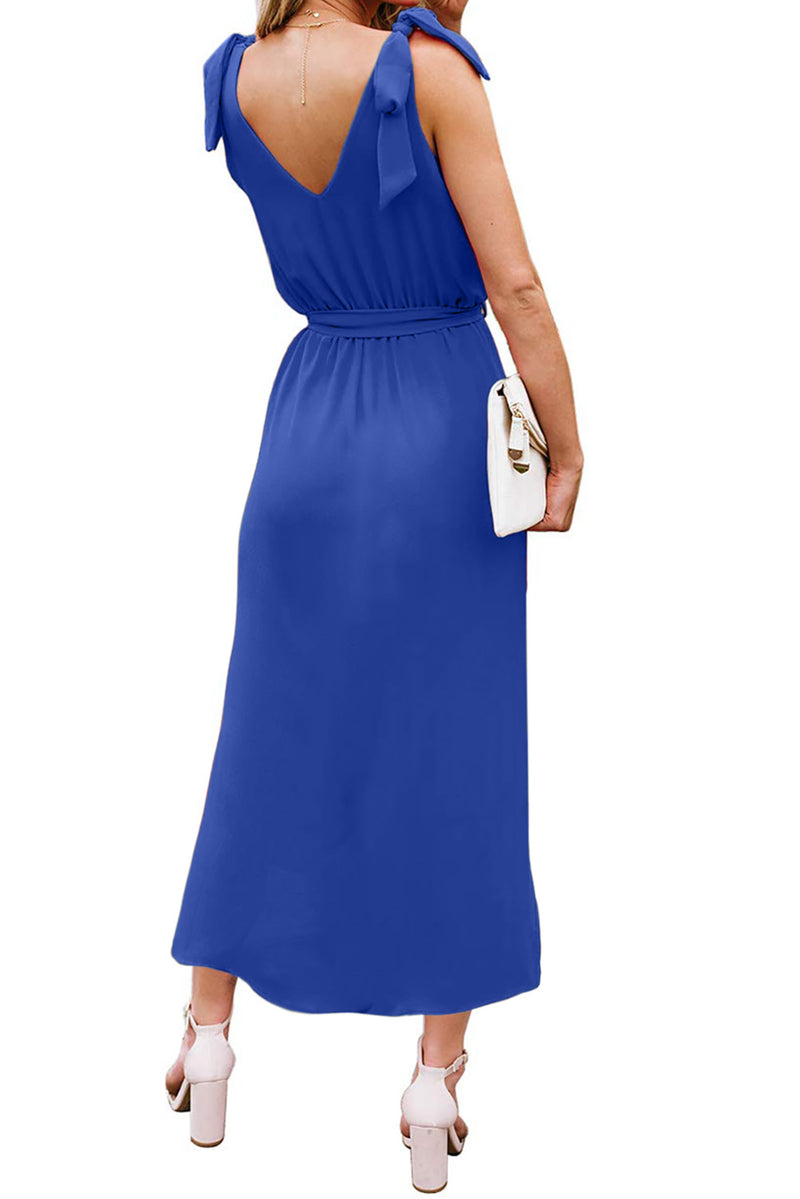 Blue Bowknot Shoulder Straps Jersey Dress with Belt - GHA Discount