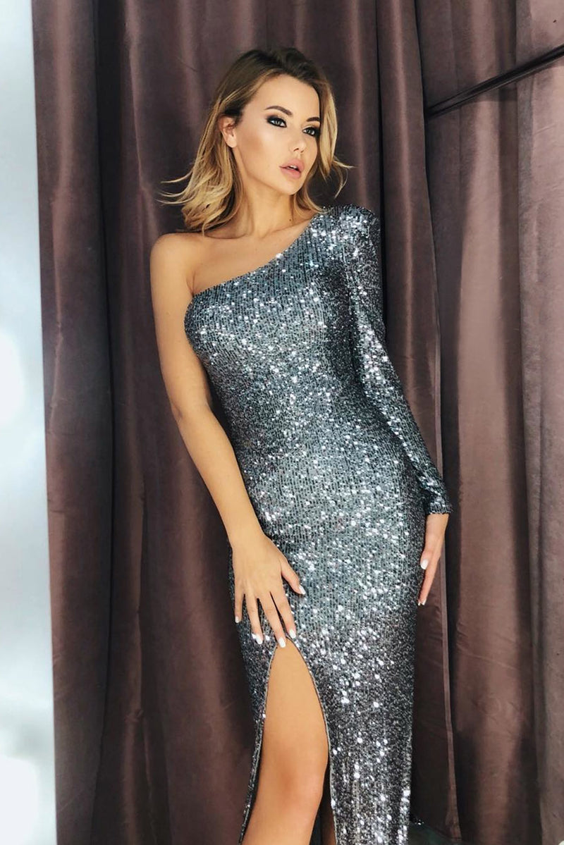 Silver Fortune One Shoulder Front Slit Sequin Gown - GHA Discount