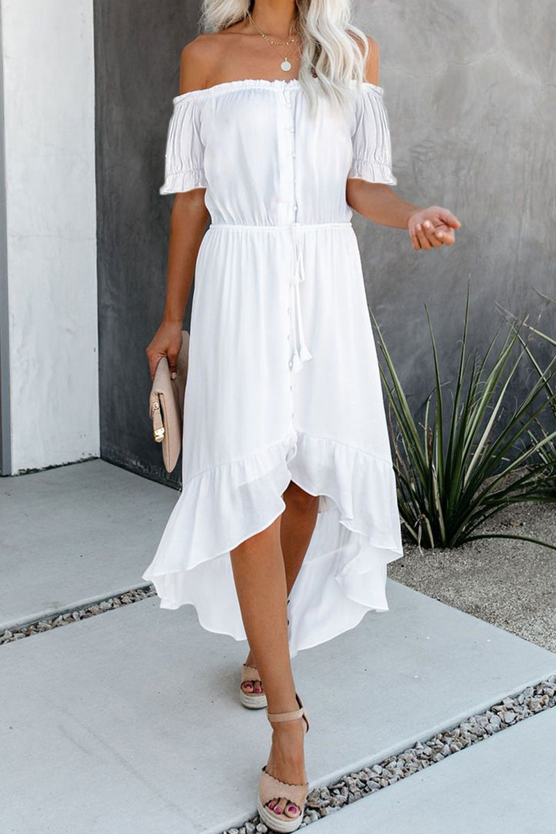 White Glaze High Low Off The Shoulder Maxi Dress - GHA Discount