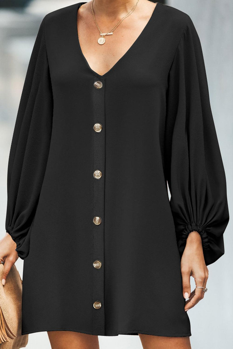 Black Buttoned-down V Neck Billowy Sleeve Shift Dress - GHA Discount