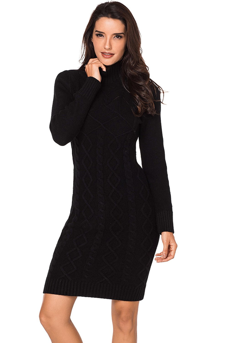 Black Cable Knit High Neck Sweater Dress - GHA Discount