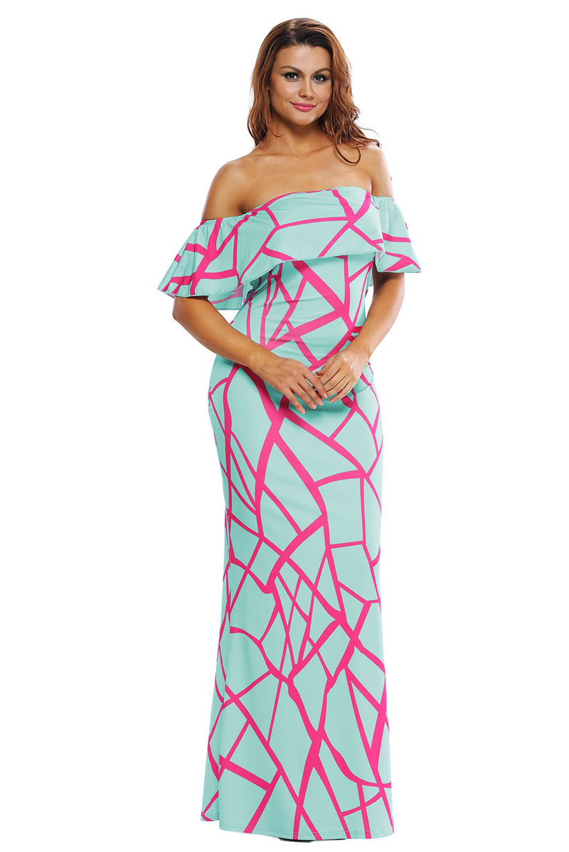 Mint Green Fuchsia Off-the-shoulder Maxi Dress - GHA Discount