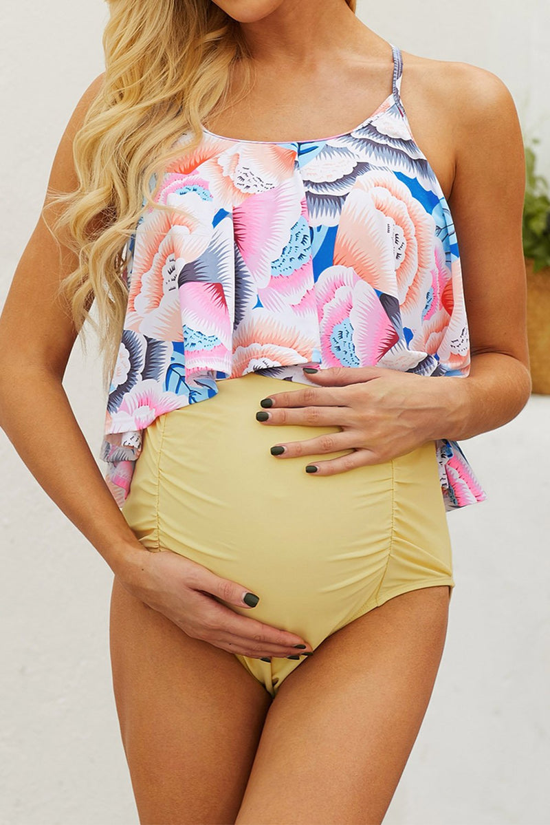 Yellow Floral Top Ruched Maternity One-piece Swimsuit