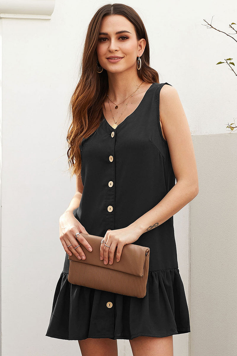 Black Pocketed Button Down Tank Dress - GHA Discount