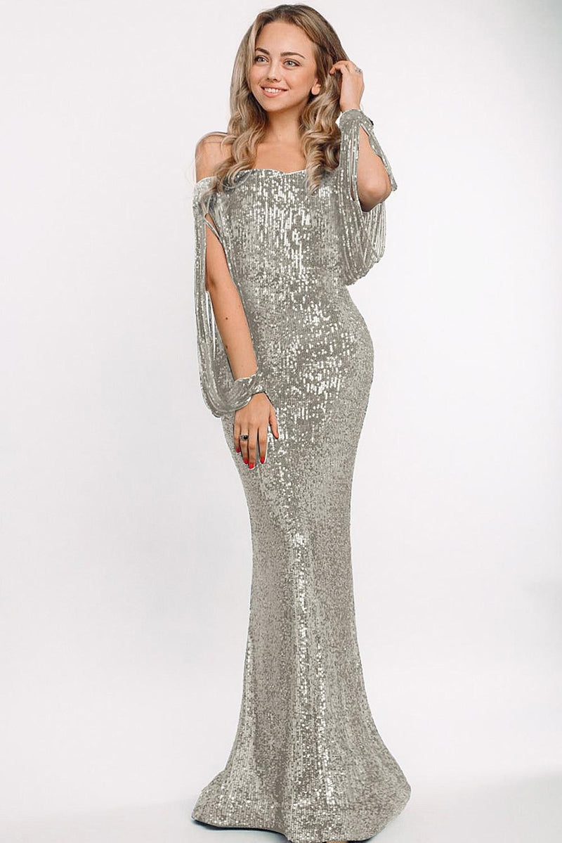 Silver Off Shoulder Tasseled Sleeve Sequin Party Maxi Dress - GHA Discount