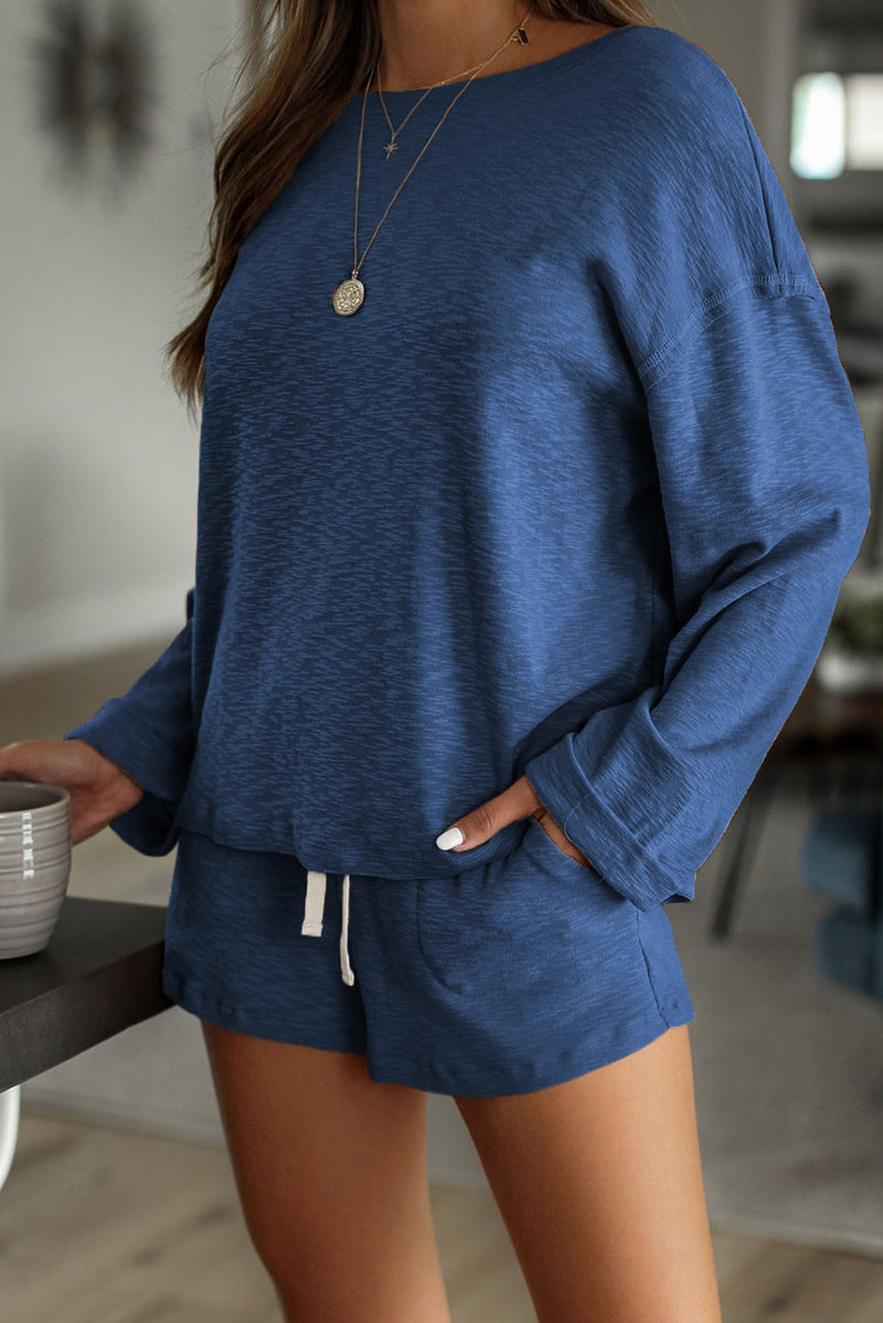 Blue Pocketed Knit Loungewear Set - GHA Discount
