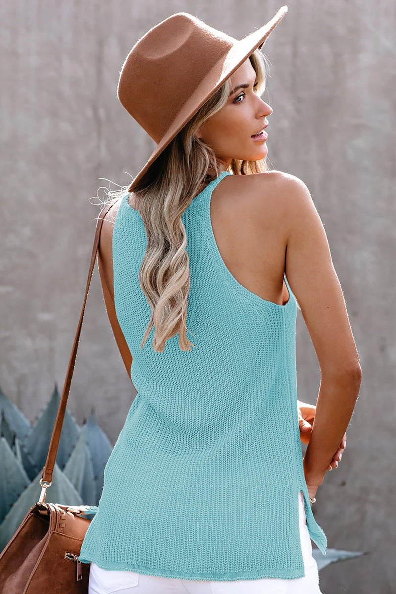 Sky Blue Keyhole Knit Tank Top - GHA Discount