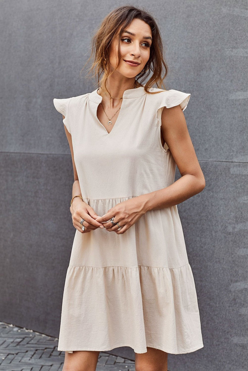 Beige Short Ruffled Sleeve V Neck Tiered Gathered Dress - GHA Discount