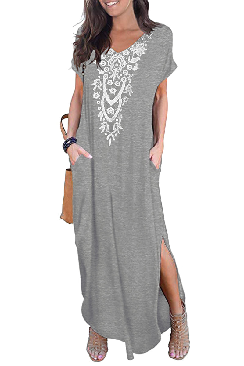 Gray Lace Front Pocket Short Sleeve Split Casual Loose Maxi Dress - GHA Discount