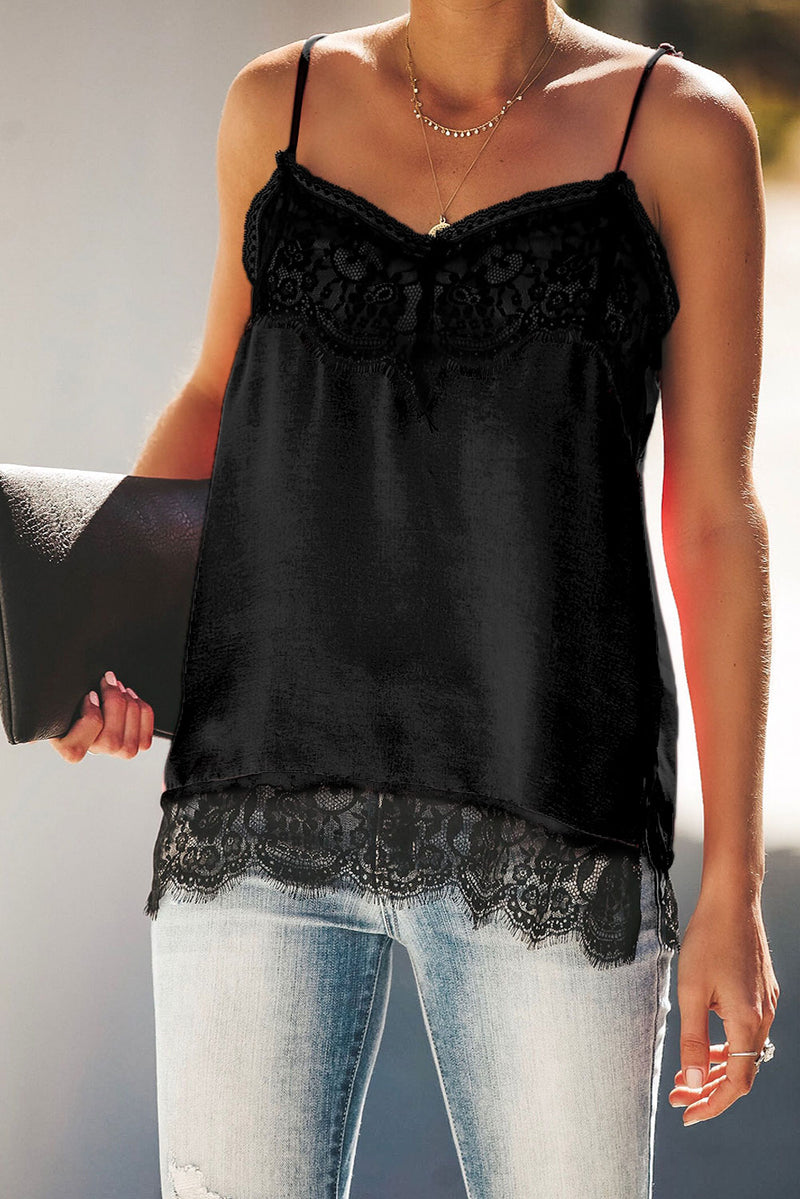 Black Satin Lace Cami Tank - GHA Discount