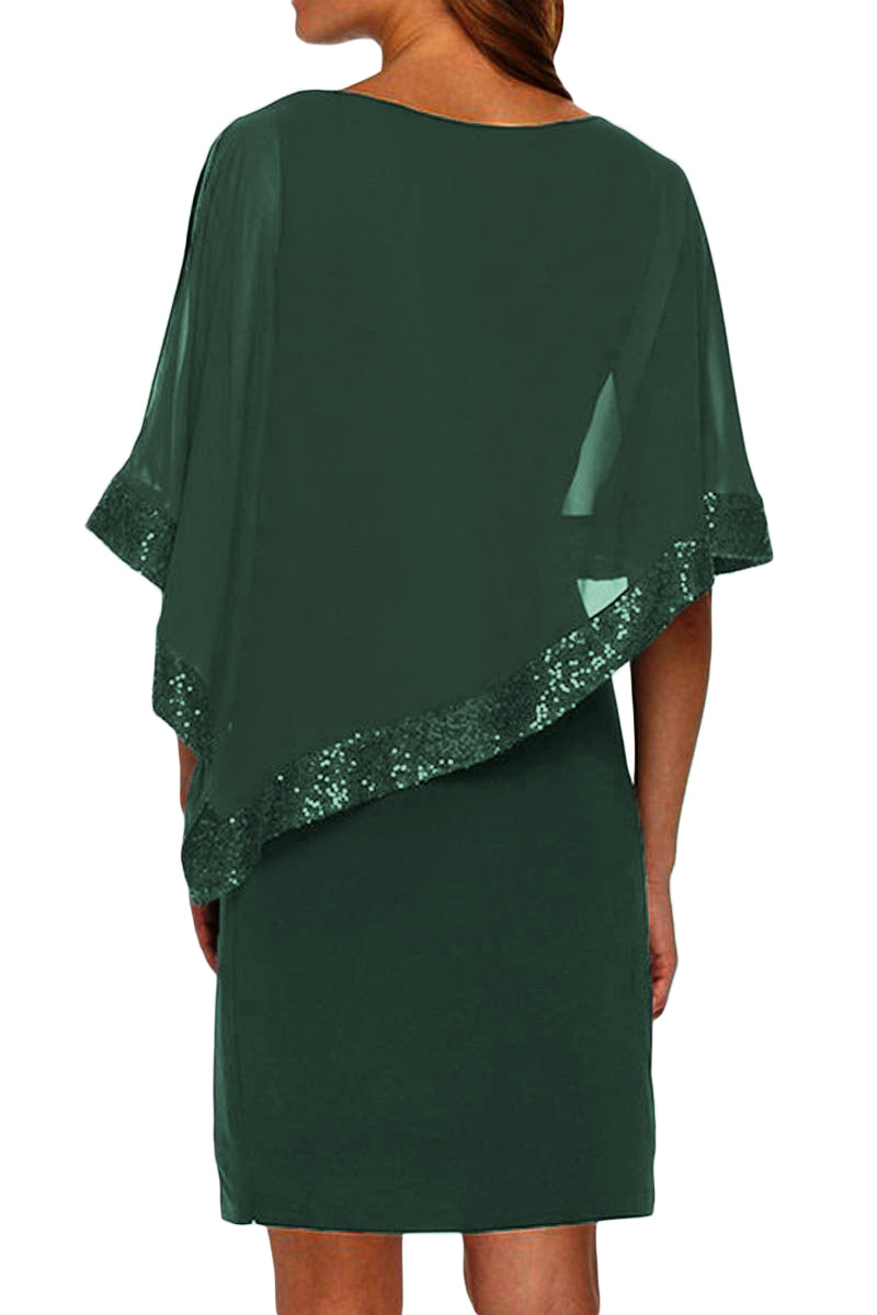 Hunter Green Sequined Poncho Mini Dress - GHA Discount