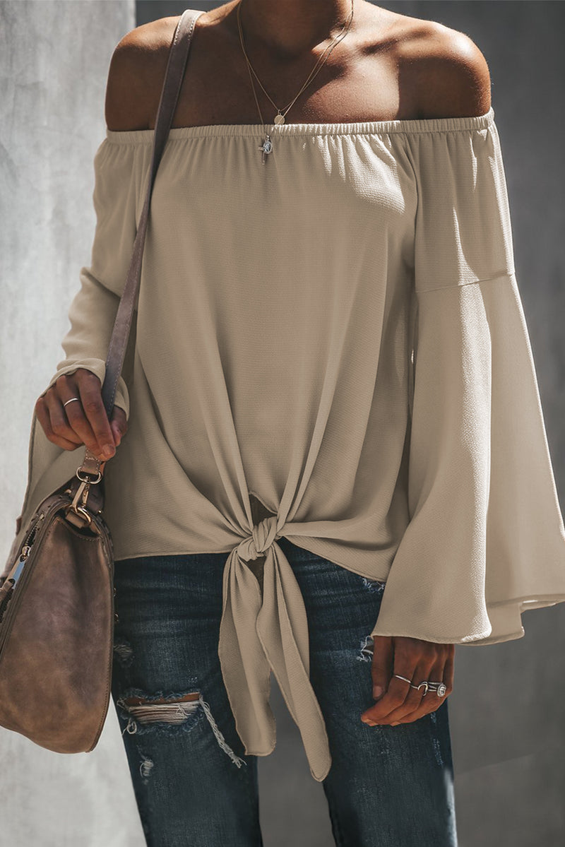 Off The Shoulder Bell Sleeve Tie Blouse - GHA Discount