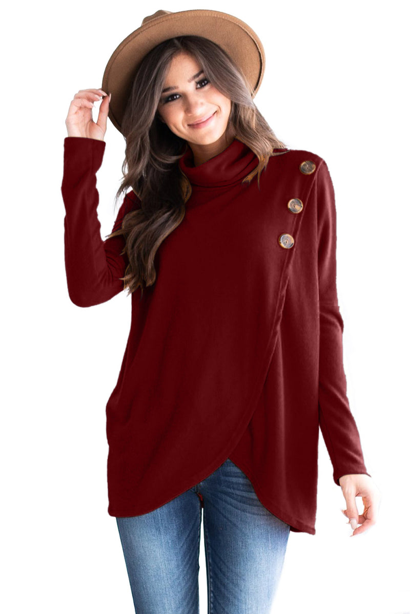 Burgundy Button Cowl Neck Overlap Tunic Top - GHA Discount