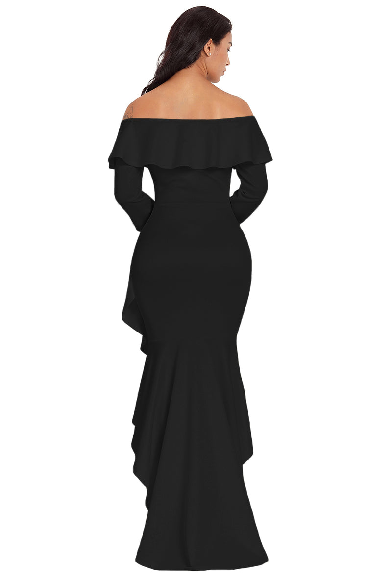 Black Lantern Sleeve Asymmetric Ruffle Hem Evening Dress - GHA Discount