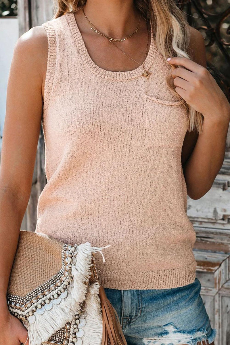 Button Back Knit Pocket Tank - GHA Discount