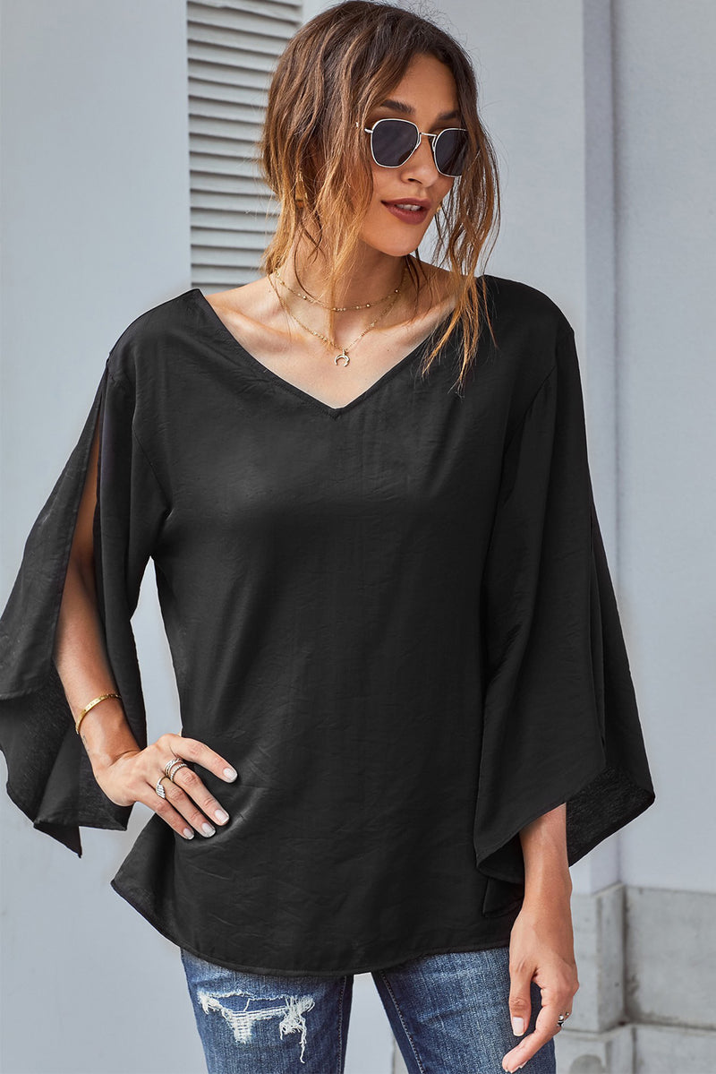 V-Neck Three-Quarter Sleeve Blouse - GHA Discount