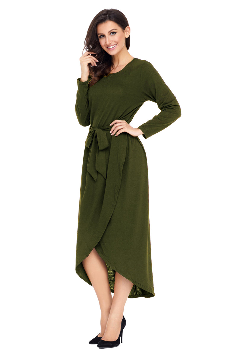 Olive Tulip Faux Wrap Sash Tie Jersey Dress - GHA Discount