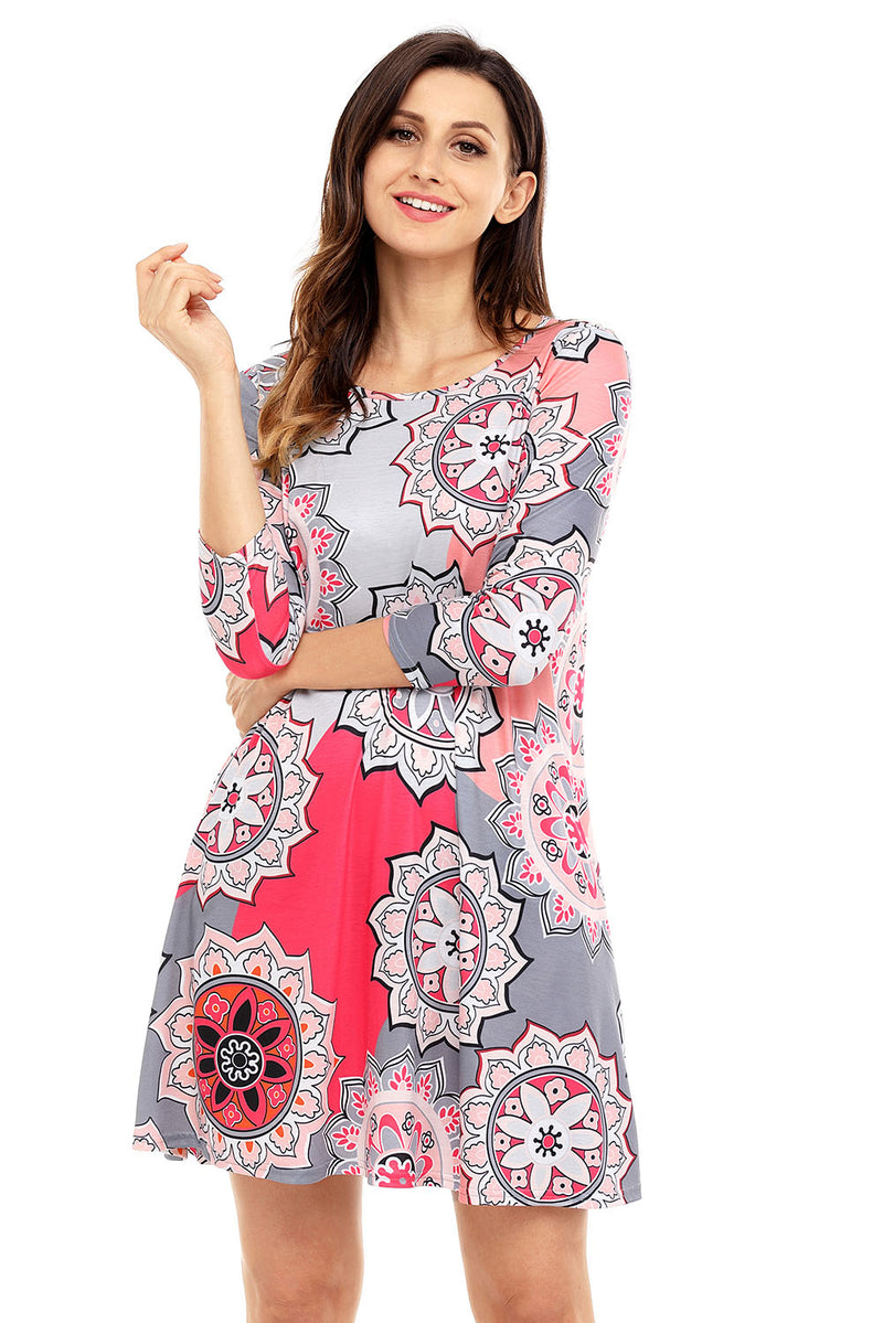 Bohemian Sunflower Print Grey Dress - GHA Discount
