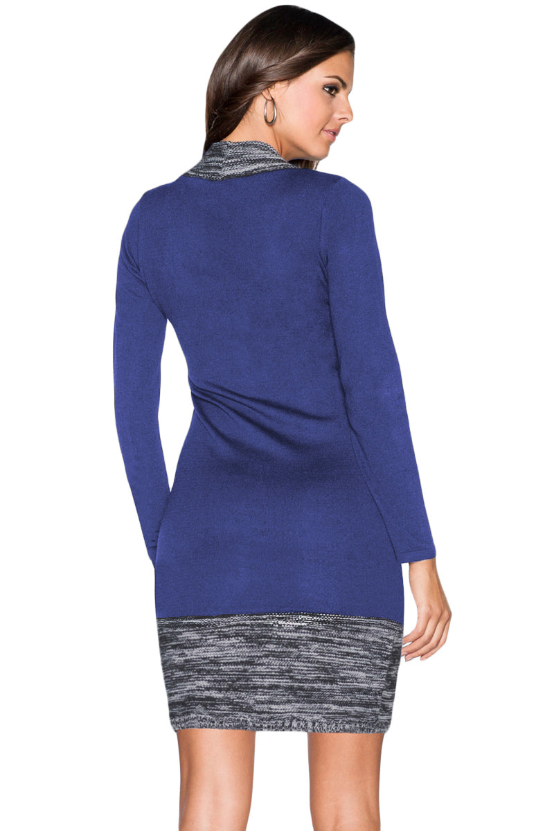 Blue Feminine Knit Dress with Contrasting Color - GHA Discount
