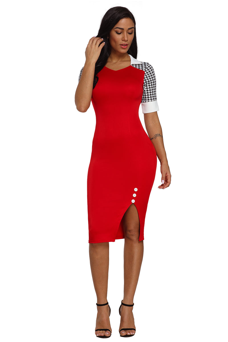Houndstooth Patchwork Red Office Sheath Dress - GHA Discount
